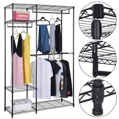 Us Heavy Duty Closet Organizer Storage Garment Shelf Rack Clothes Hanger Shelves