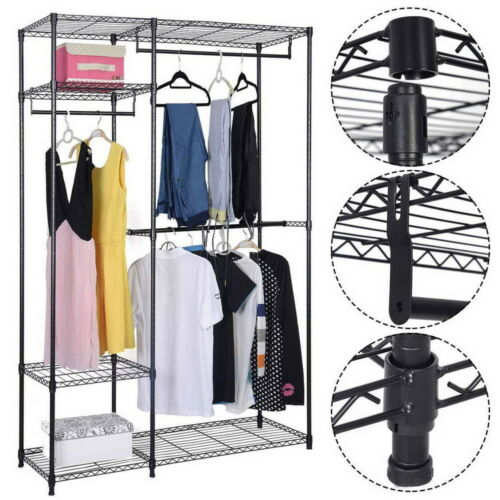 US Heavy Duty Closet Organizer Storage Garment Shelf Rack Cl