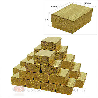 25 Gold Foil Texture Cotton Filled Jewelry Gift Boxes 2 58 X 1 12 X 1 Ring