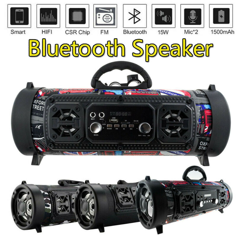 Portable Wireless Bluetooth Speakers Stereo Radio Super Bass Ultra Loud AUX UK