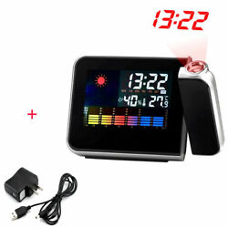 Weather Backlight LCD Snooze Alarm Clock Projection Digital Color Display EM
