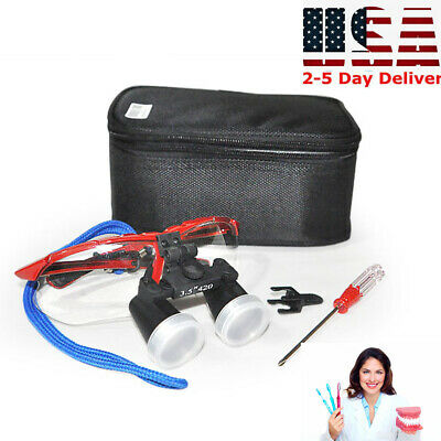 Dental Lab Surgical Medical Binocular Loupes 3.5x 420mm Optical Glass Device Usa
