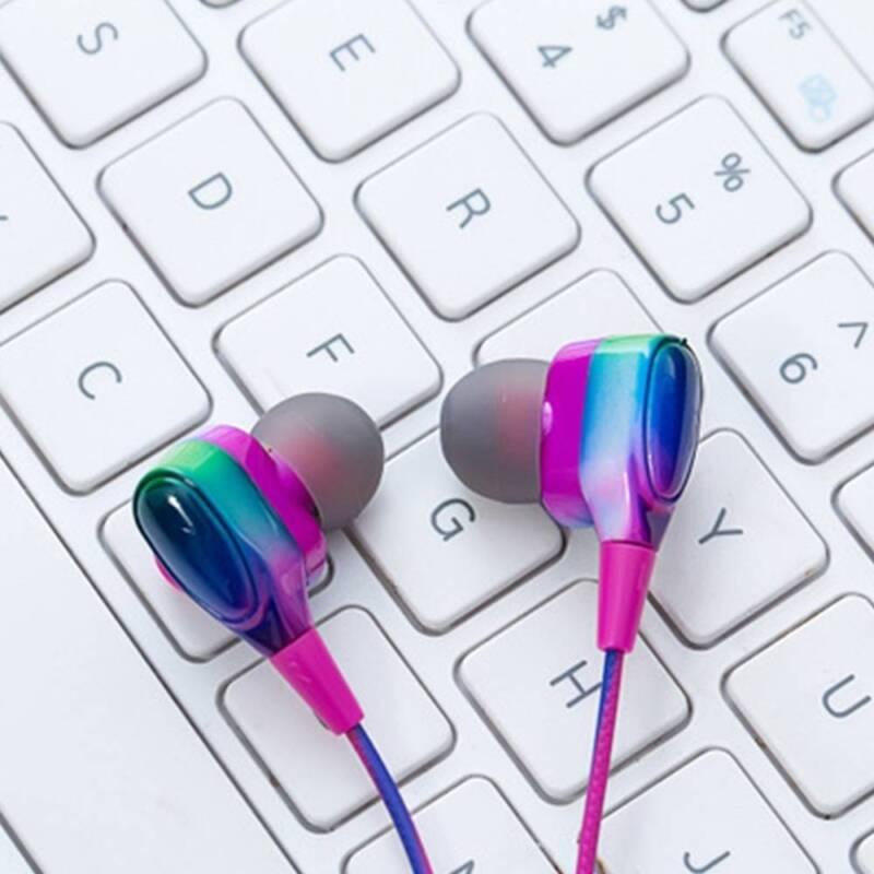gradient color rainbow universal in ear earphone