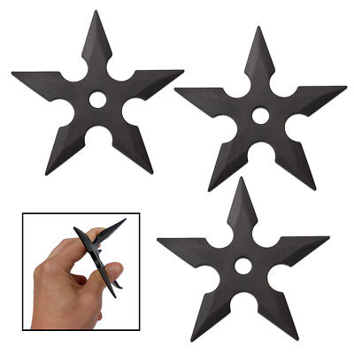 3pc Rubber Throwing Star Stars Set - Ninja Shuriken 5-Point Martial Arts 4 3/4""
