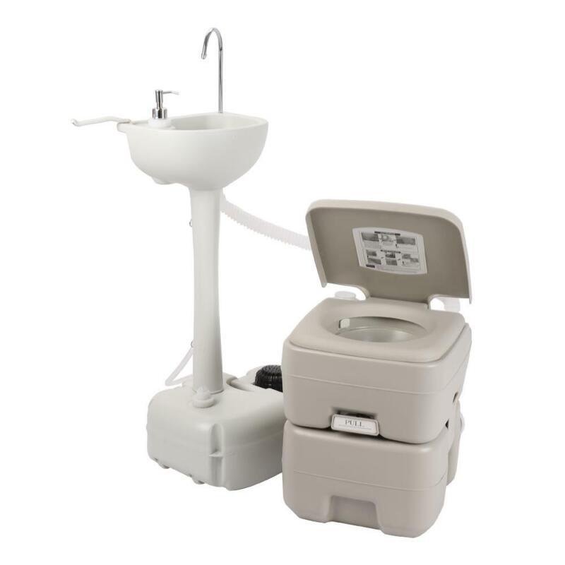 Camping Hiking Hygiene Wash Set 20L Flush Toilet Hand Wash Sink Basin RV Faucet