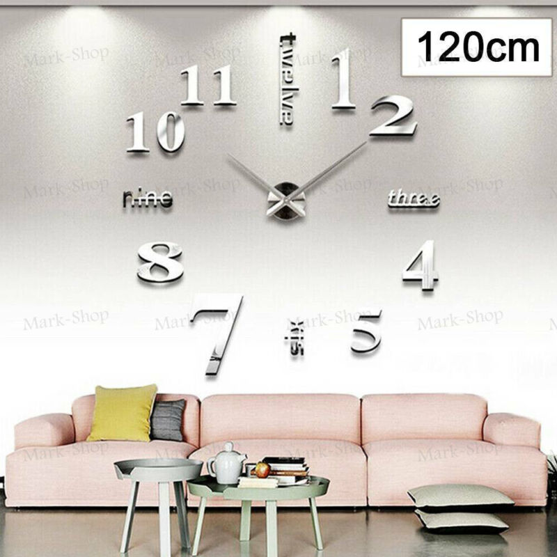 Home Decoration - Modern DIY 3D Large Number Wall Clock Mirror Sticker Decor Home Office Kids Room