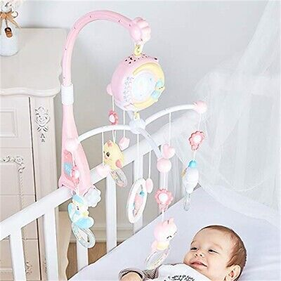 Baby Musical Crib Bed Dreams Light Cot Mobile Stars Flash Nusery Lullaby Toys UK