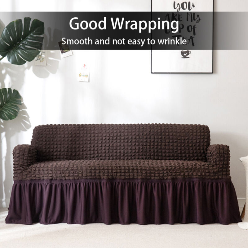 """27/""""-90/"""" Plush Elastic Sofa Covers Stretch Couch Slipcover Furniture Protector US"""
