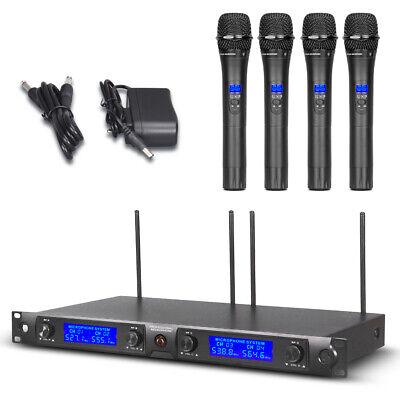 - 4 Channel Wireless Microphone System 4 Handheld Metal Mic Pro Audio UHF Karaoke