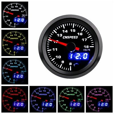 "2"" 52mm Car Voltage Gauge 8-18V Electronic LED Volt Meter Pointer Digital Racing"