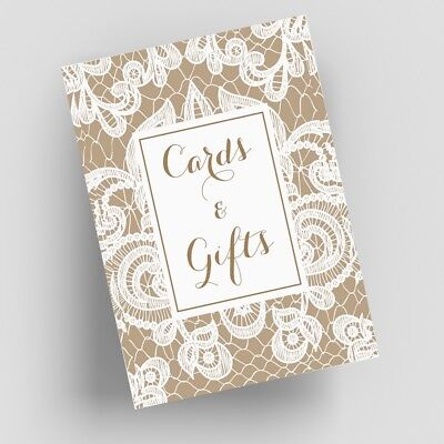 Cards and Gifts Table Signs - White Lace Wedding Reception Signage - Wedding Reception Signs