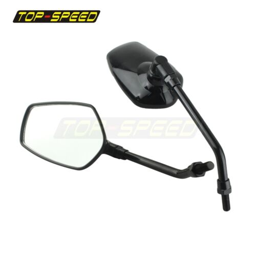 2X Motorcycle Chopper ATV Bike 10mm Black Rear View Side Mirrors with Steel Stem