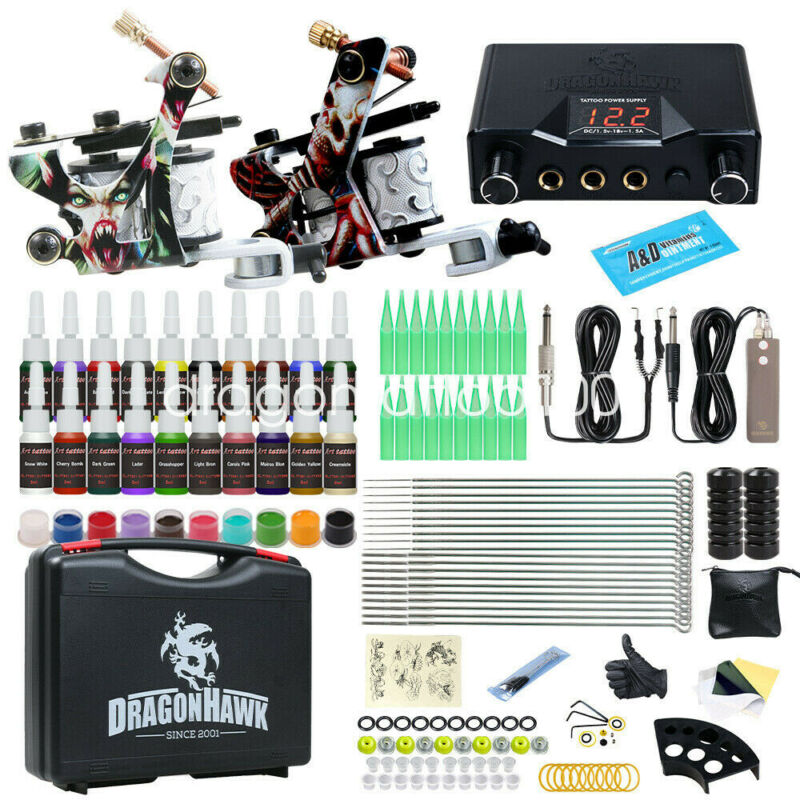 Dragonhawk Tattoo Kit 2 Machine Guns Color Inks Power Supply Needle Grip Tip Box