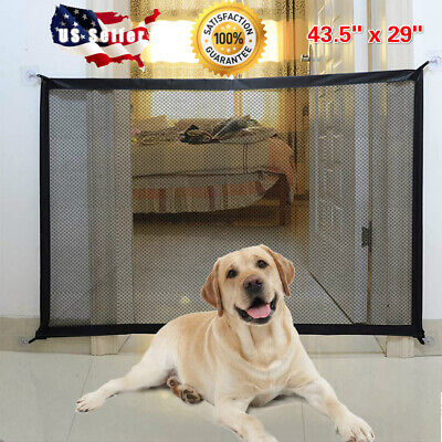Pets Dog Cat Baby Safety Gate Mesh Fence Magic Portable Guard Net Stairs Doors Mesh Pet Gate