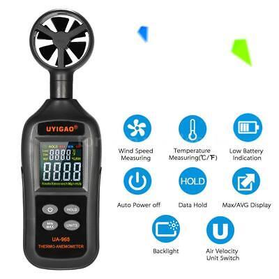 UYIGAO Digital Anemometer Thermometer Handheld Pocket Wind Speed Meter Test Q3B4