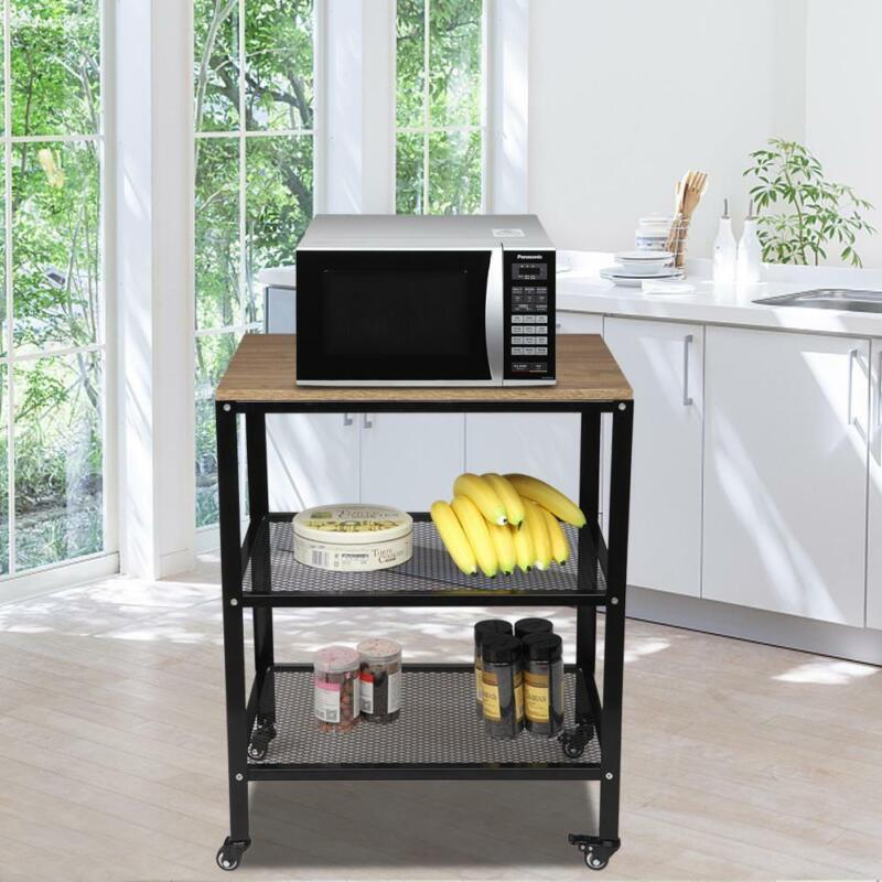 3-Tier Wire Rolling Trolley Cart Storage Kitchen Microwave Stand Utility Carts