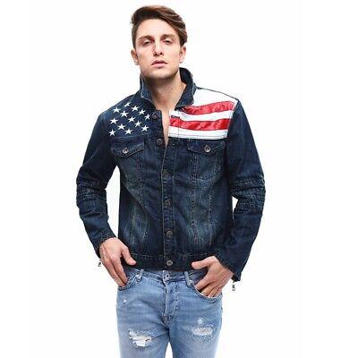 Vintage American Flag Jeans Coat Slim Fit Men's Motorcycle Denim Jacket Punk US Flag Motorcycle Jacket