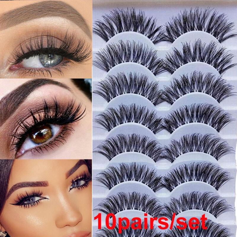 10 pairs wispies false eyelashes thick long