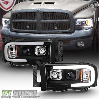 Black 2002-2005 Dodge Ram 1500 2500 3500 LED Tube Projector Headlights Headlamps