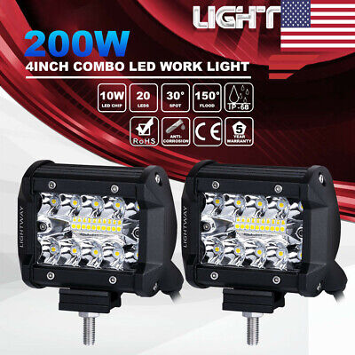 2X 4 Inch 200W CREE LED Work Light Bar Pods Flush Mount Combo Driving Lamps 12V
