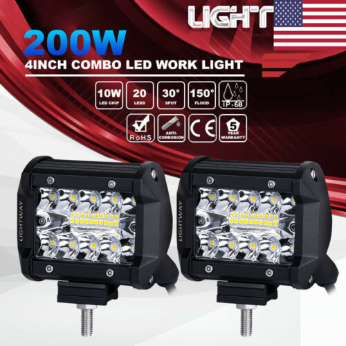 2X 4 Inch 200W CREE LED Work Light Bar Pods Flush Mount Comb
