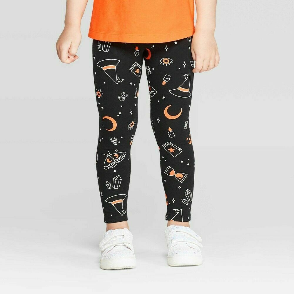 Cat & Jack Toddler Girls' Halloween Leggings – Black 18M Baby