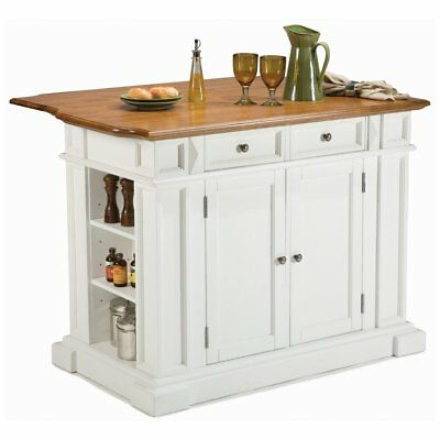 Home Styles 5002-94 Kitchen Island, Immaculate and Distressed Oak Finish, White