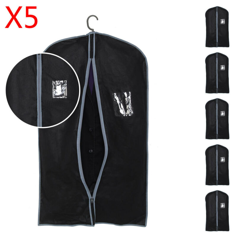 5x Breathable Zip Up Hanging Suit Dress Coat Garment Bag Clothes Cover Dustproof
