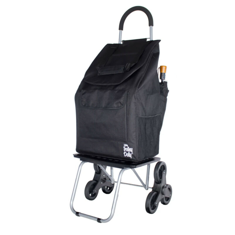 dbest products Portable Folding Stair Climber Bigger Trolley Dolly Cart, Black