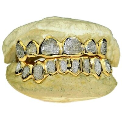 Diamond Gold Tone Grillz - 925 Gold Plated Two-Tone Custom Grillz Diamond-Dust Teeth Handmade Real Grills