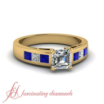 .85 Ct Blue Sapphire And Diamond Engagement Rings Asscher And Princess Cut GIA