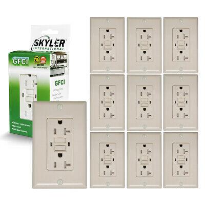 Skyler 10 Pack 20 Amp Ul-listed Gfci Outlet Self-test Trwr Light Almond