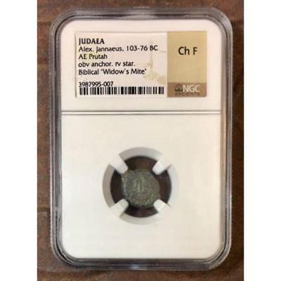 """Judea Alex. Jannaeus, 103-76 BC """"Widows Mite"""" NGC Ch F ***Rev Tye"""
