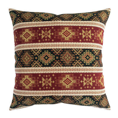 Tapestry Ethnic Burgundy Red Green 22x22 Christmas Tree Decor Pillow Cover Sham