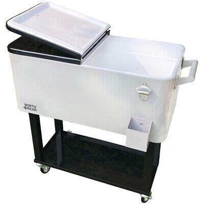 North Gear Outdoor 80 Quarts Portable Rolling Cooler Cart Ho