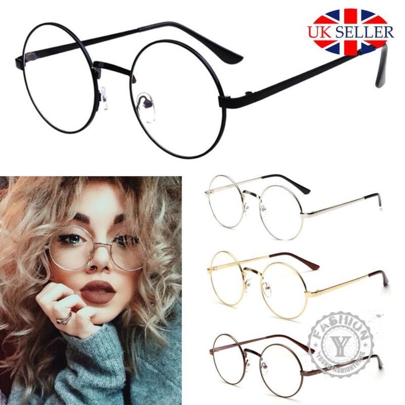 5ac4efc0e32 Unisex Big Round Metal Frame Clear lens Vintage Retro Geek Fashion Specs  Glasses