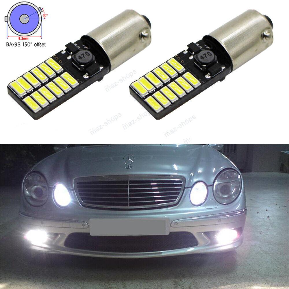 2x White Error Free BAX9S 64132 H6W LED Bulbs For Audi Mercedes Parking Lights