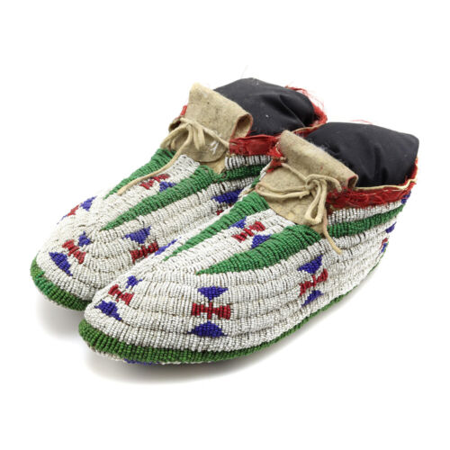 Lakota Fully Beaded Moccasins with Stand, c. 1890s