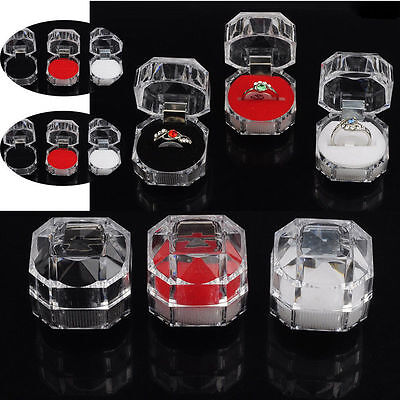 Ring Boxes Wholesale (Wholesale 12pcs Lots Plastic Crystal Jewelry Ring Display Storage)