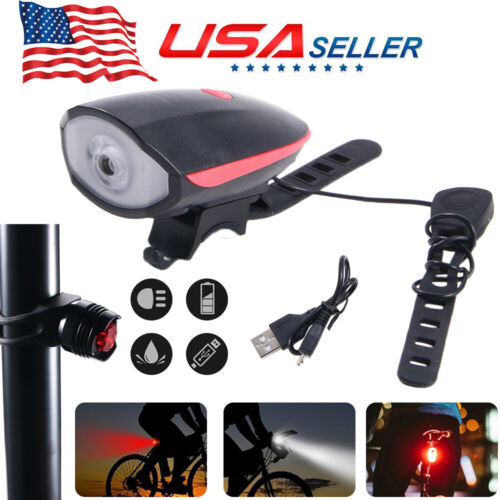 Super Bright Bicycle Head /& Taillight Set Water Resistant with Loud Horn