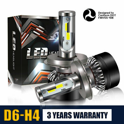 2PC Car LED H4 HB2 Hi/Lo Bulbs Fog Driving Headlight Kit 60W 12000LM 6000K PRL13
