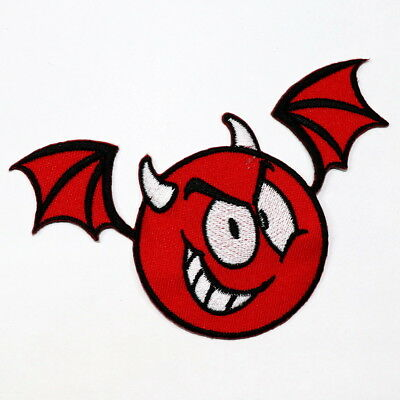 Red Emoji Devil Evil Bat Wing Halloween Monster DIY Clothes Jacket Iron on patch