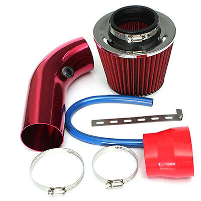 RED 3Inch UNIVERSAL CAR COLD AIR INTAKE FILTER INDUCTION KIT PIPE HOSE SYSTEM UK