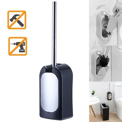 Wall-Mounted Toilet Brush Set Vented Stainless Steel Bathroom Bowl Cleaner -