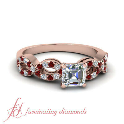 Infinity Round Ruby Engagement Rings 1 Carat Asscher Cut Untreated Diamond GIA