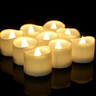 12/1pcs LED Flickering Flame Battery Tea Lights Flameless Candle with Timer 18h