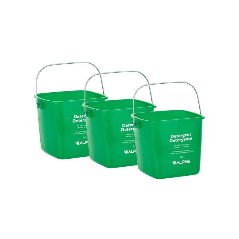 Alpine Industries 0.75 Gal. Green Plastic Cleaning Bucket Pail (6-Pack)