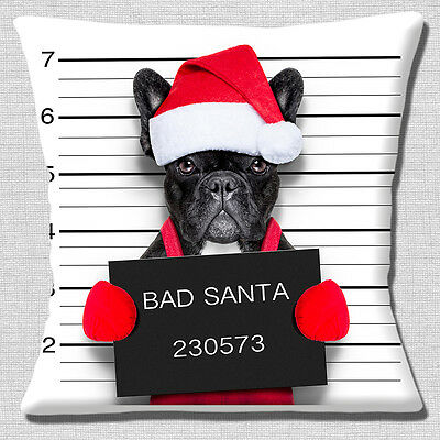 Funny French Bulldog Cushion Cover 16x16 inch 40cm Christmas Bad Santa Mug Shot