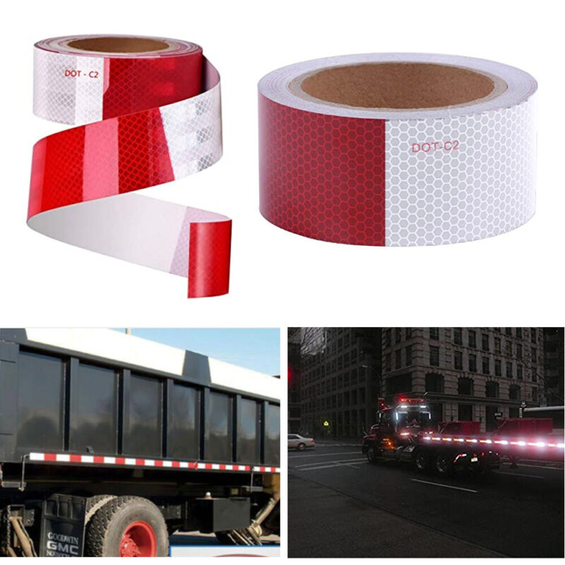 """2 Rolls Dot Reflective Tape Conspicuity 2"""" X 10ft Red White Visibility Adhesive"""