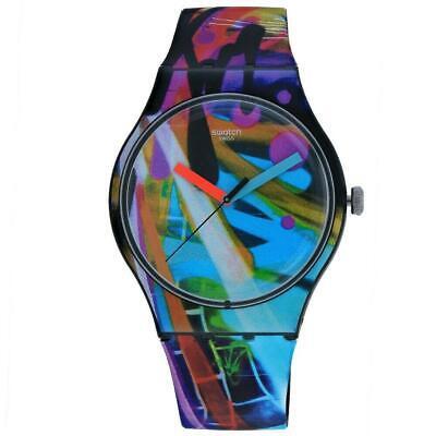 Swatch SUOB163 City Walls 41MM Men's Multicolored Silicone Watch